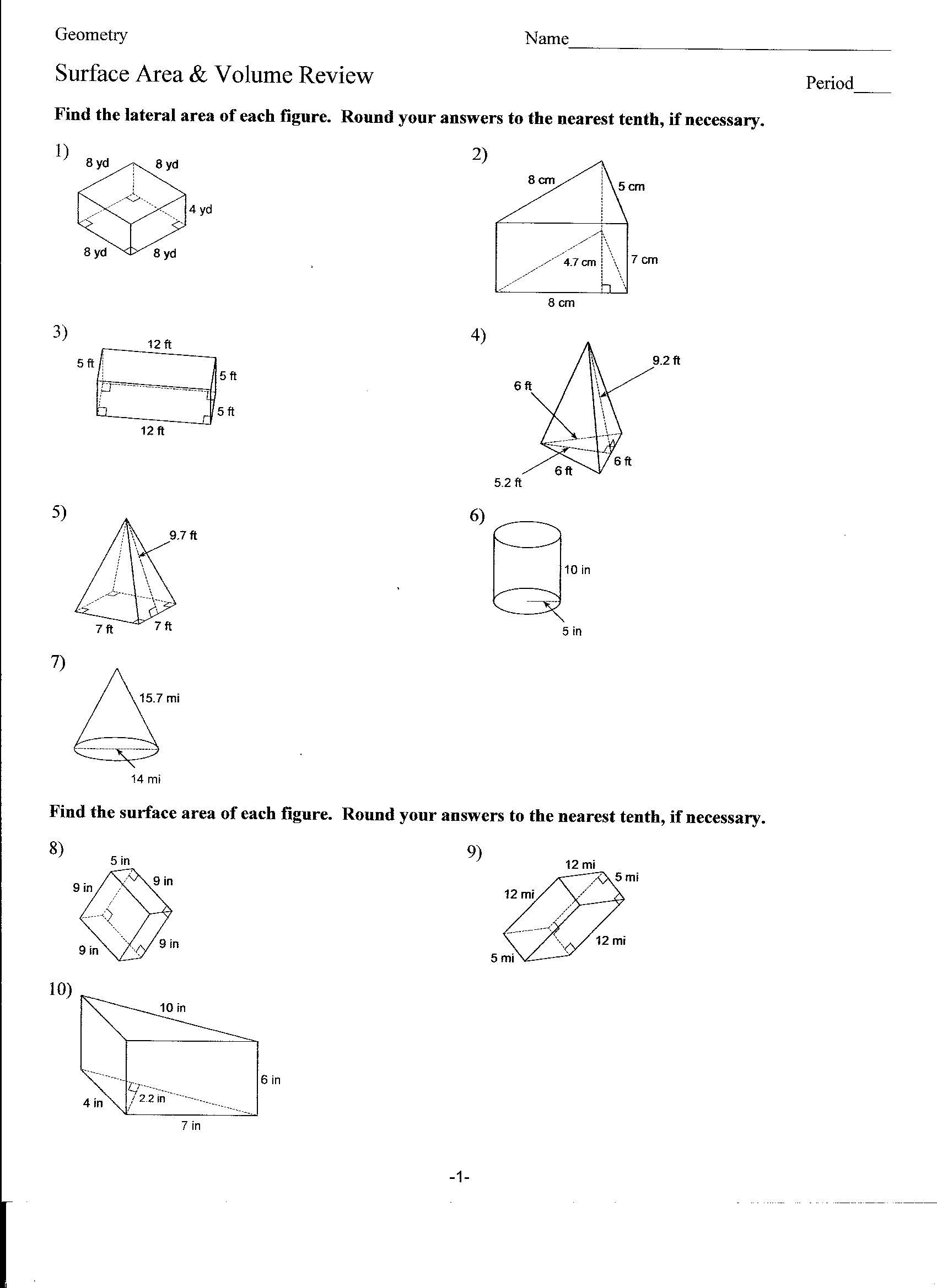 13 Best Images Of Surface Area Cylinder Worksheet