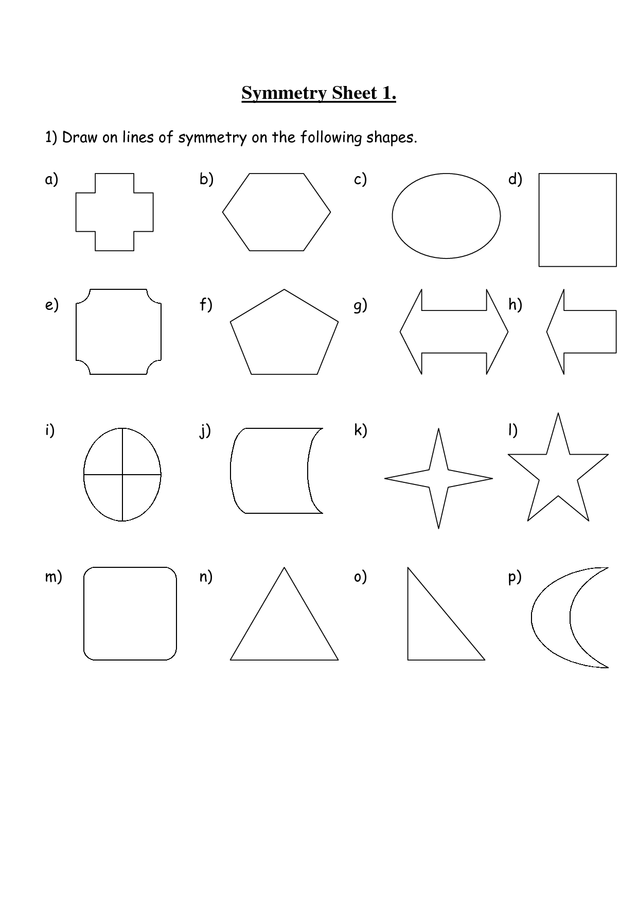 12 Best Images Of Symmetrical Shapes Worksheets