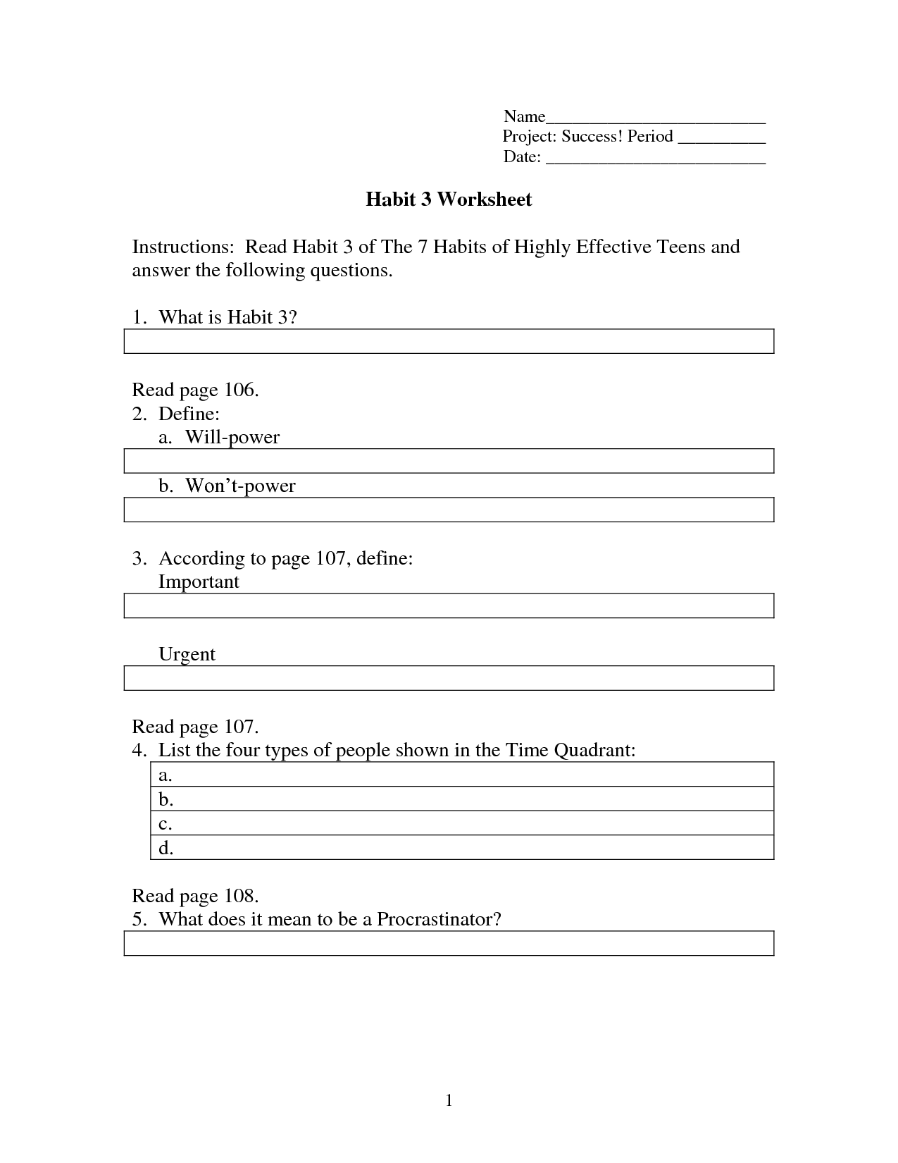 Covey 7 Habits Worksheet Printable