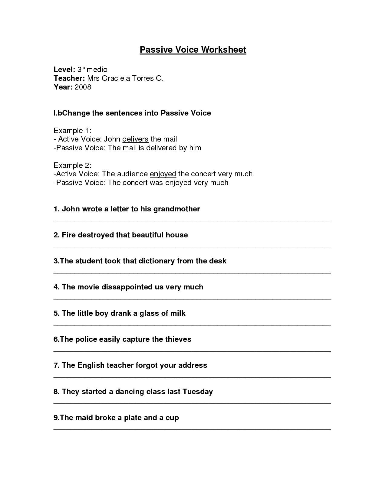 Worksheet Passive Voice