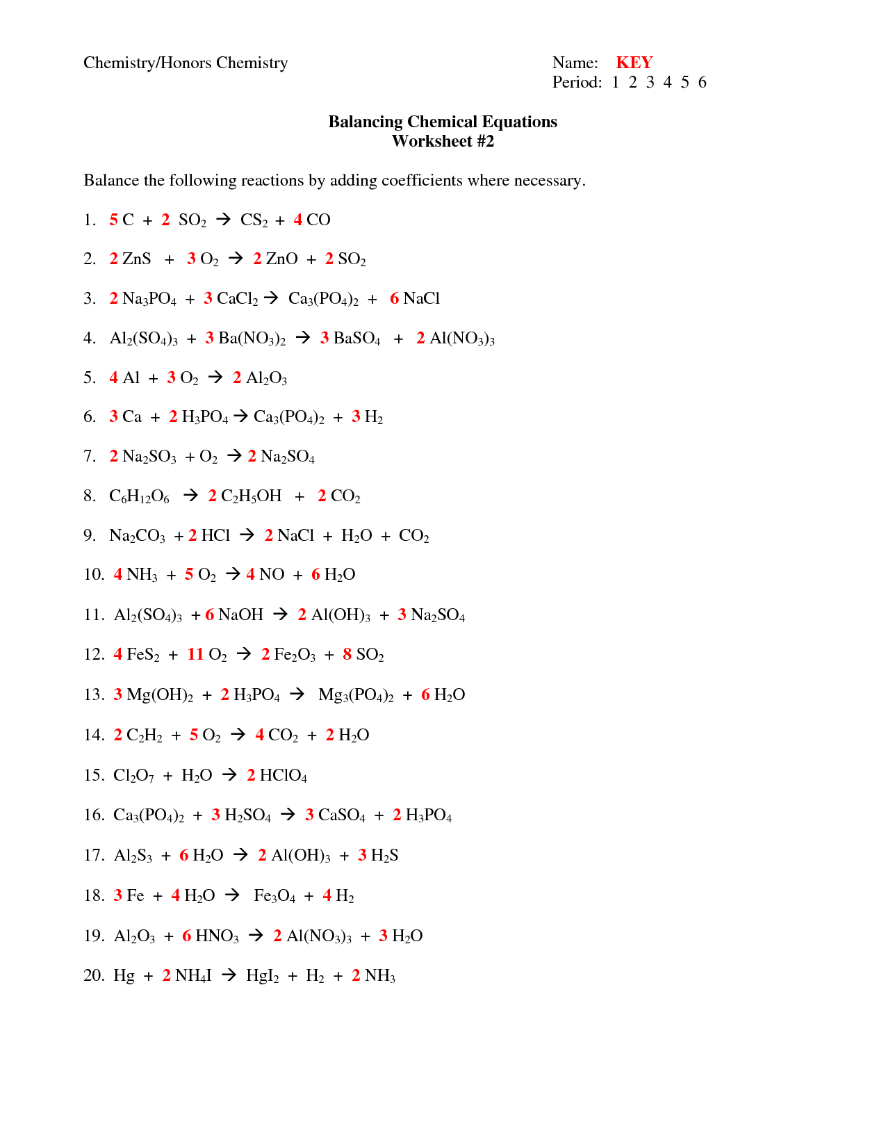 Balancing Chemical Equations Worksheet Answers 1 50