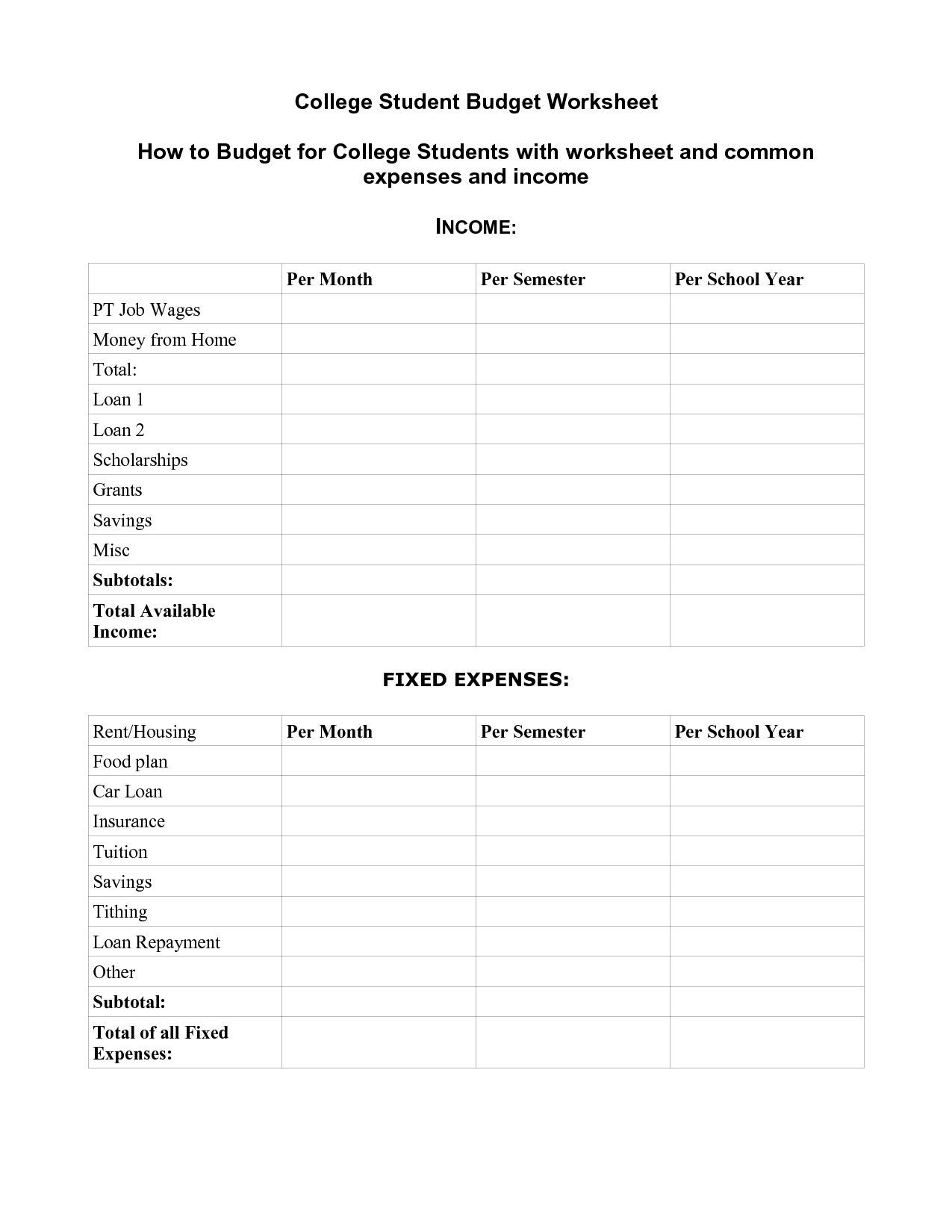 18 Best Images Of Savings Plan Worksheet