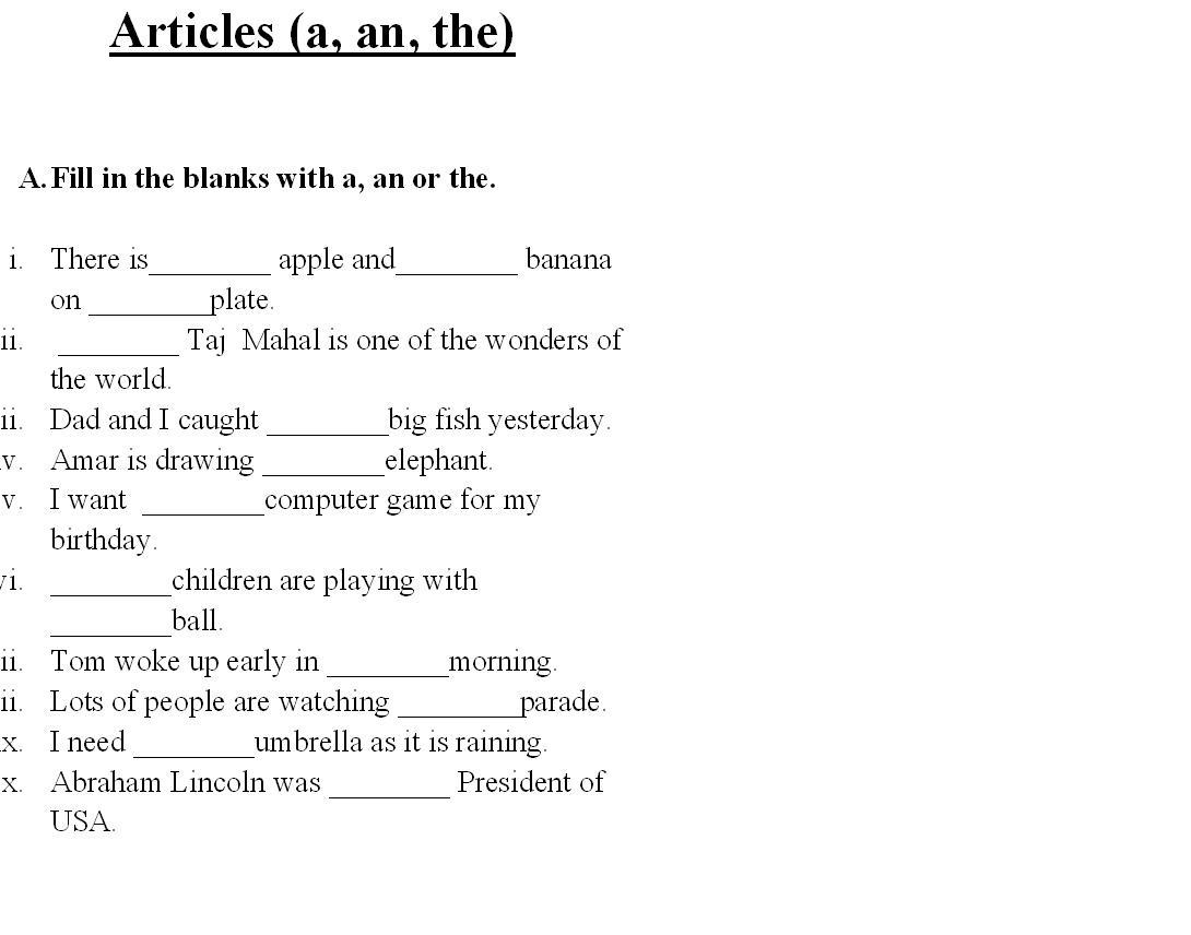 15 Best Images Of Using Articles Worksheets