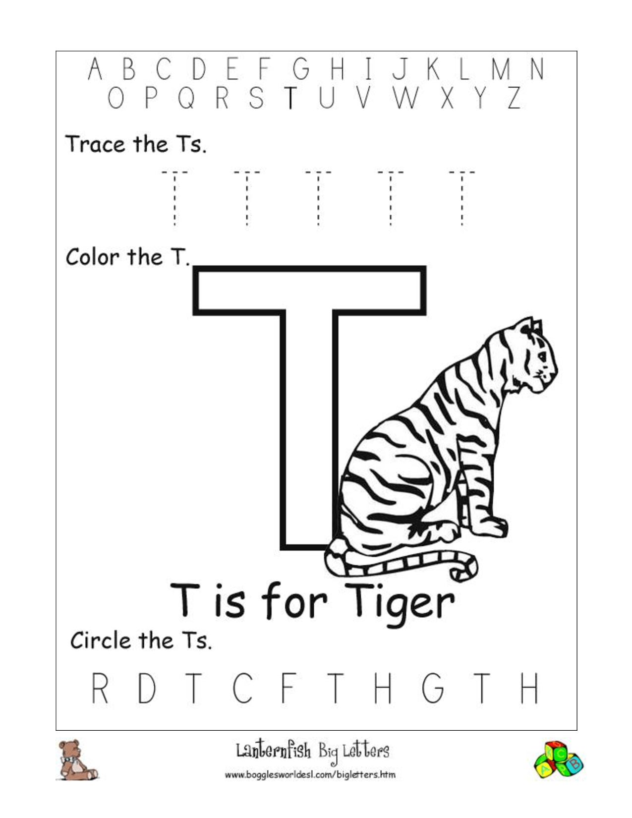 18 Best Images Of Letter T Tracing Worksheets