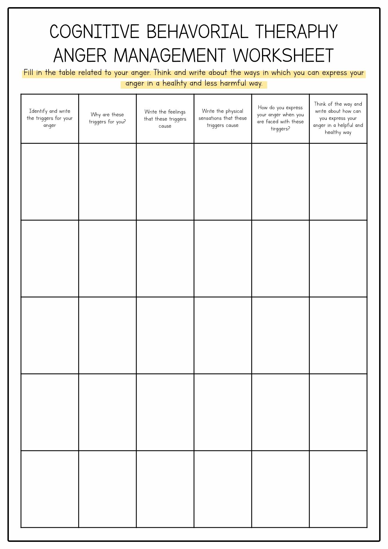Anger Worksheet For Men