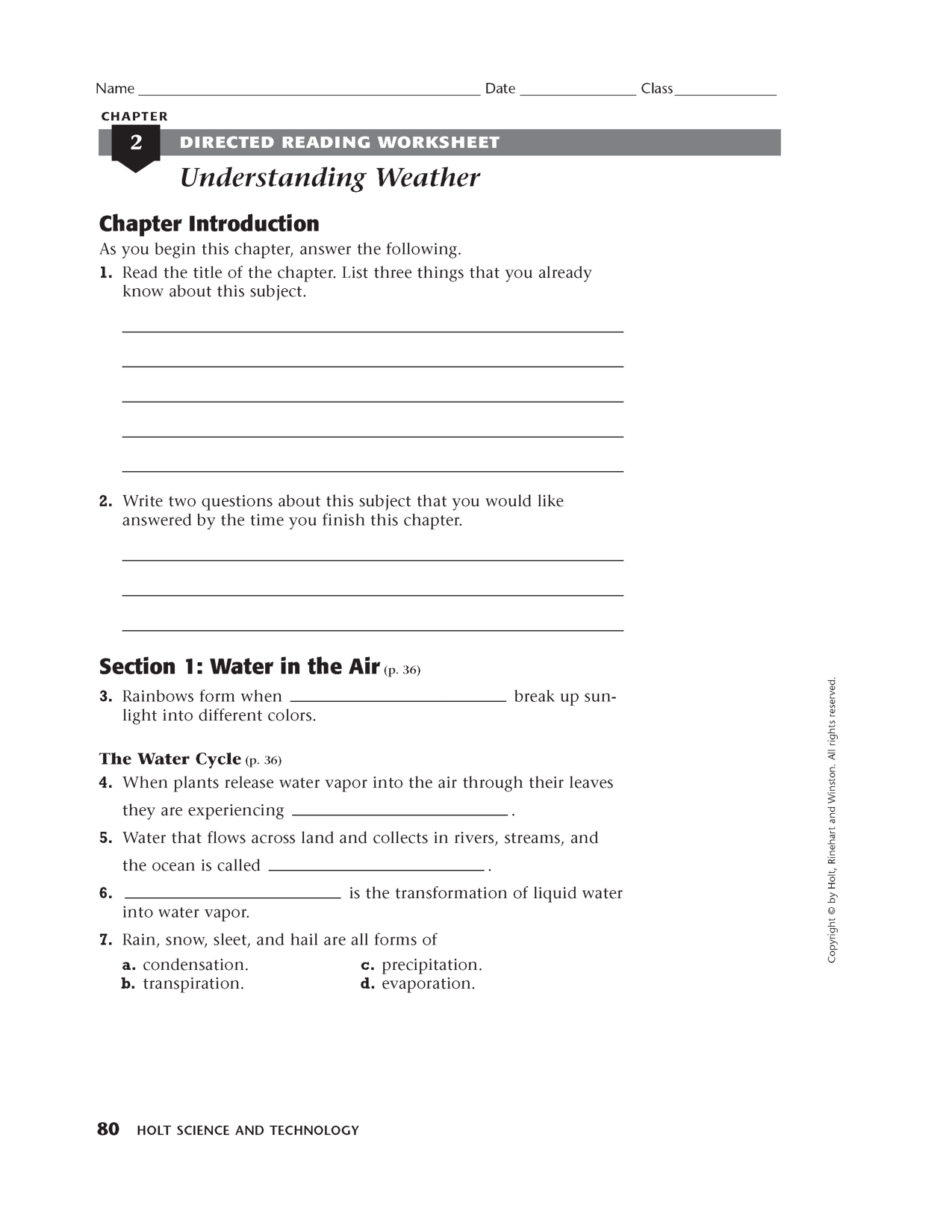 Holt Health Worksheet Chapter 5