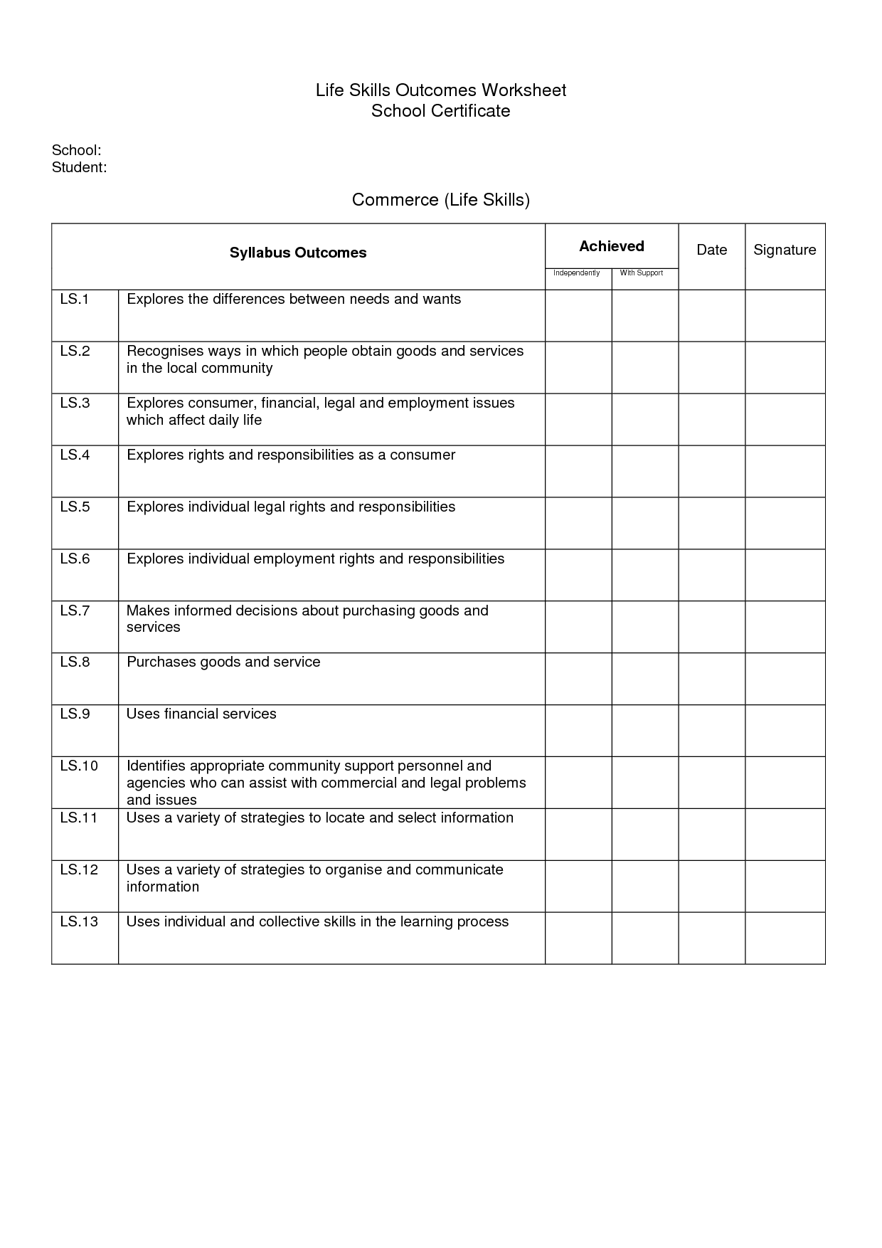 10 Best Images Of Daily Living Skills Worksheets