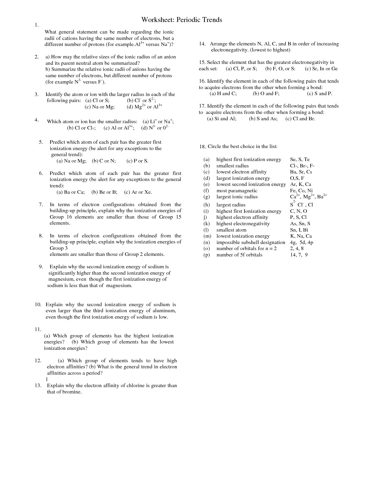 30 Worksheet Periodic Trends Answers