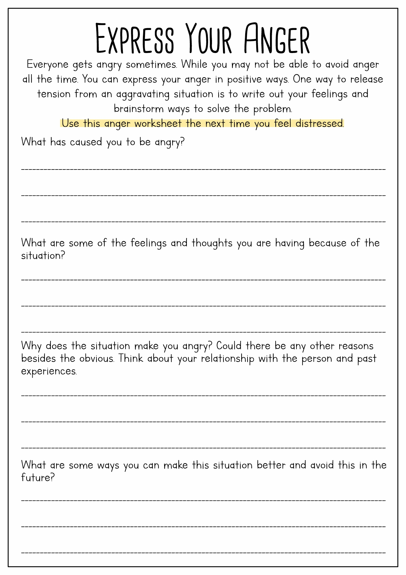 19 Best Images Of Anger Worksheets For Adults