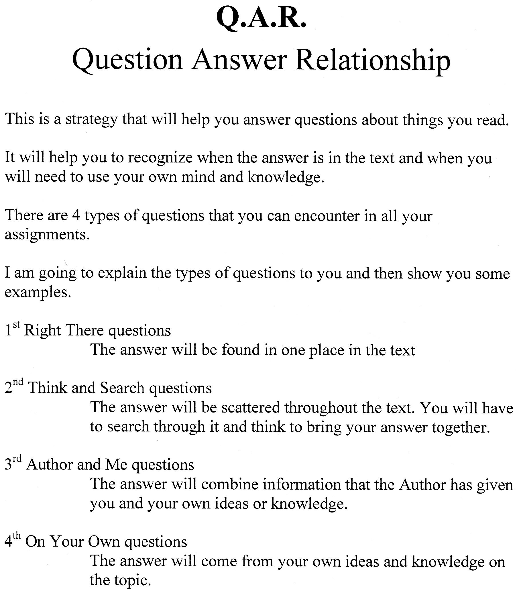11 Best Images Of Question Answer Relationship Worksheets