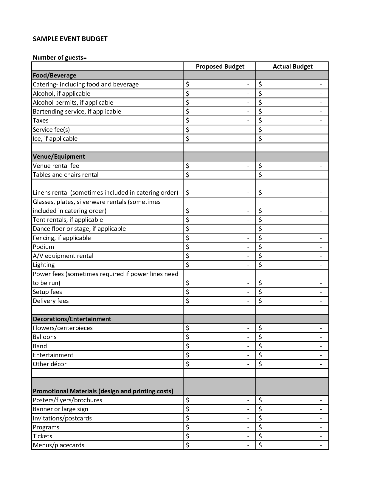 11 Best Images Of Party Budget Worksheet