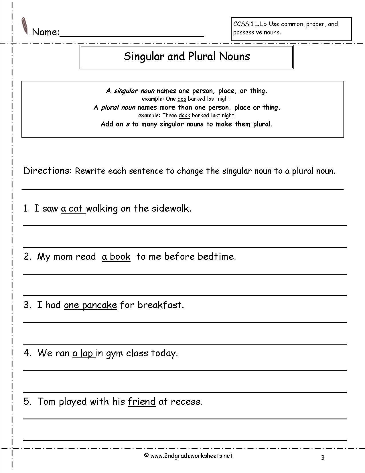 14 Best Images Of Singular Plural Nouns Worksheets