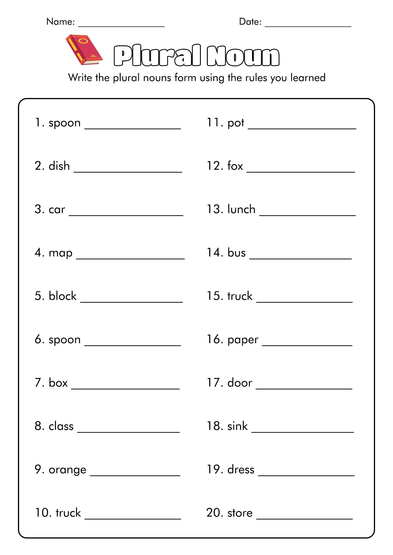 14 Best Images Of Singular Plural Nouns Worksheets