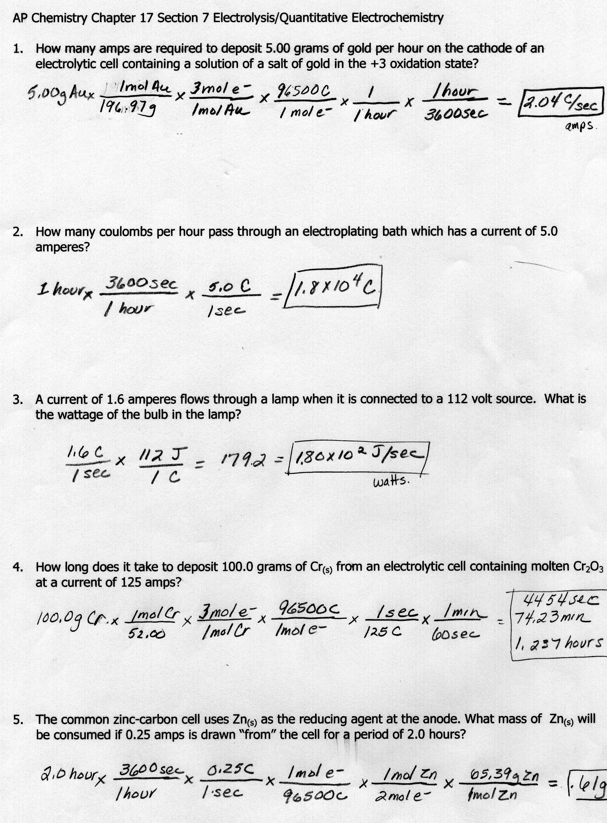 Honors Chemistry Thermochemical Equations Homework