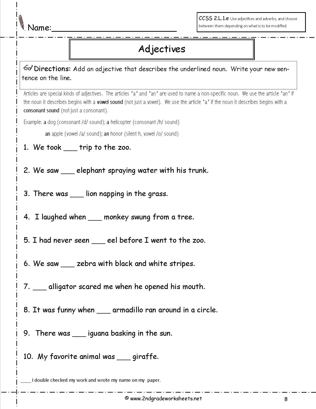 Adjectives And Articles Worksheets Grade 6