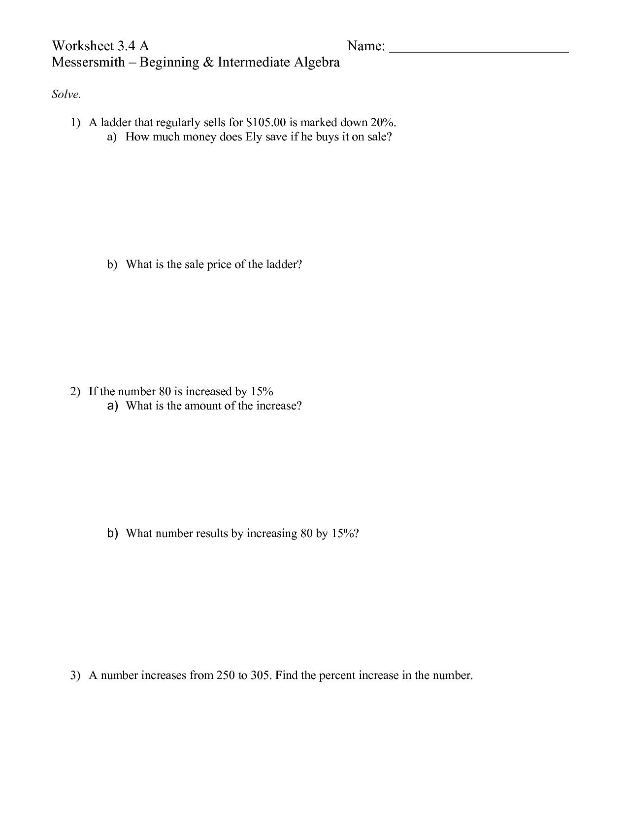Beginning Intermediate Algebra Worksheet