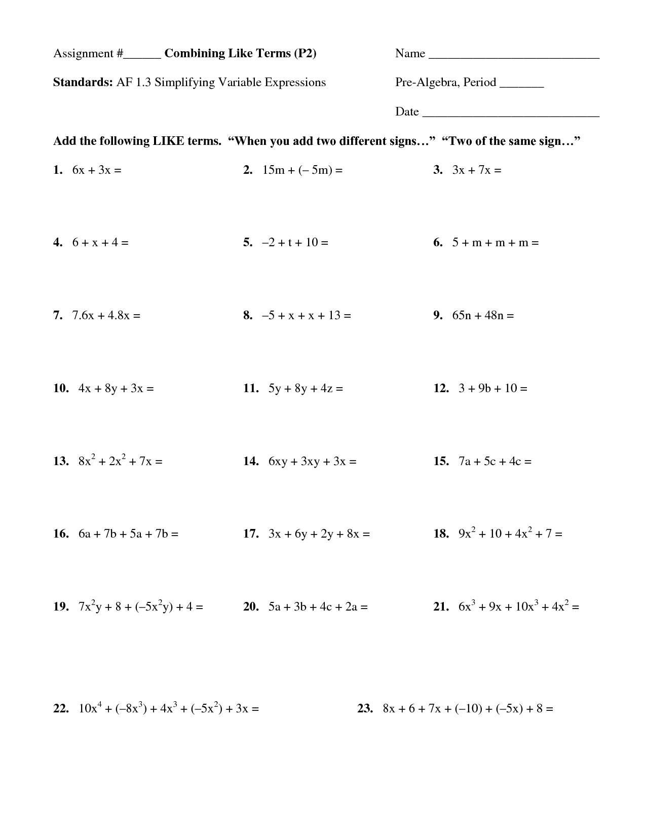 17 Best Images Of Simplifying Expressions Worksheets 6th
