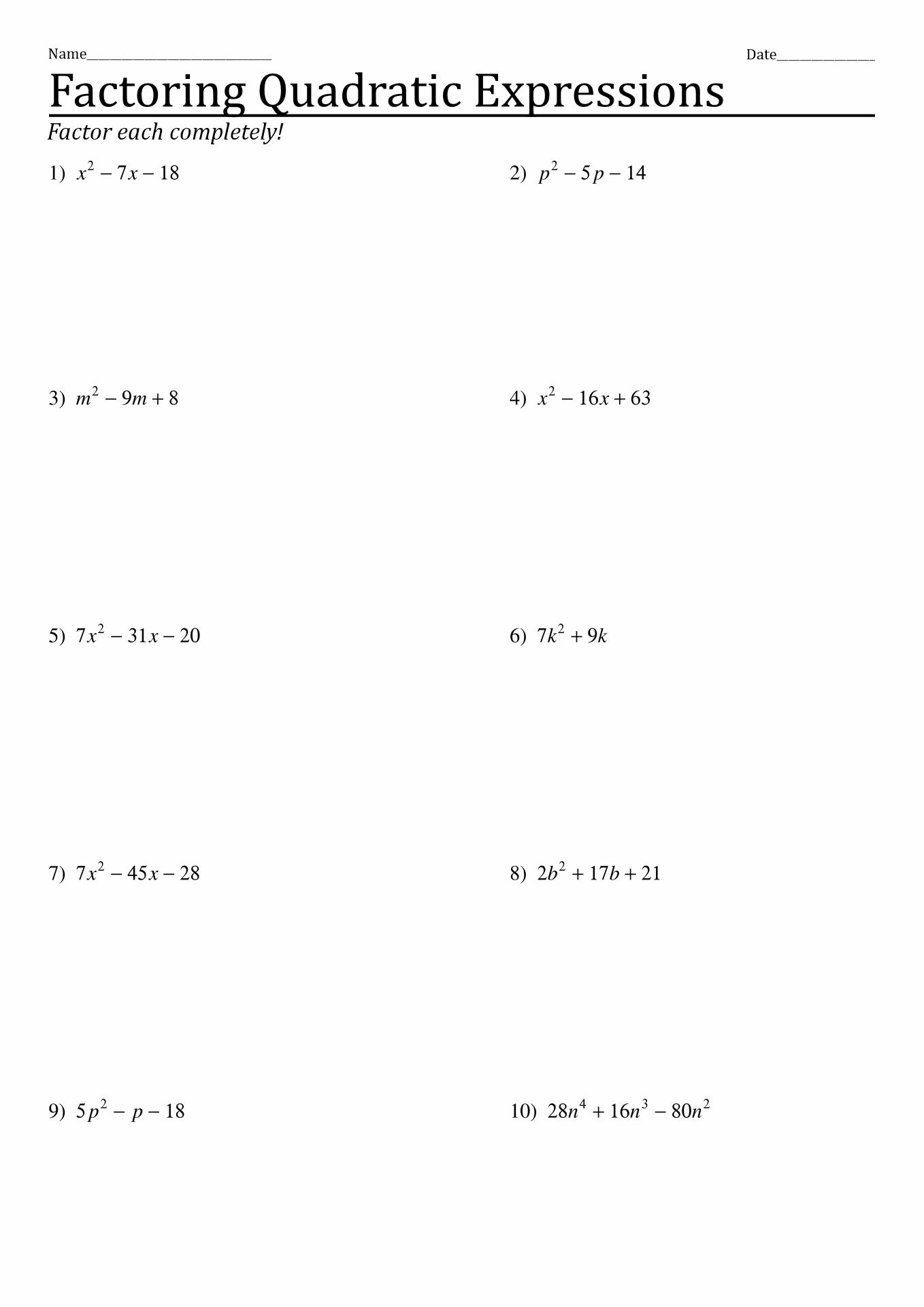 Quadratic Formula Worksheet With Examples