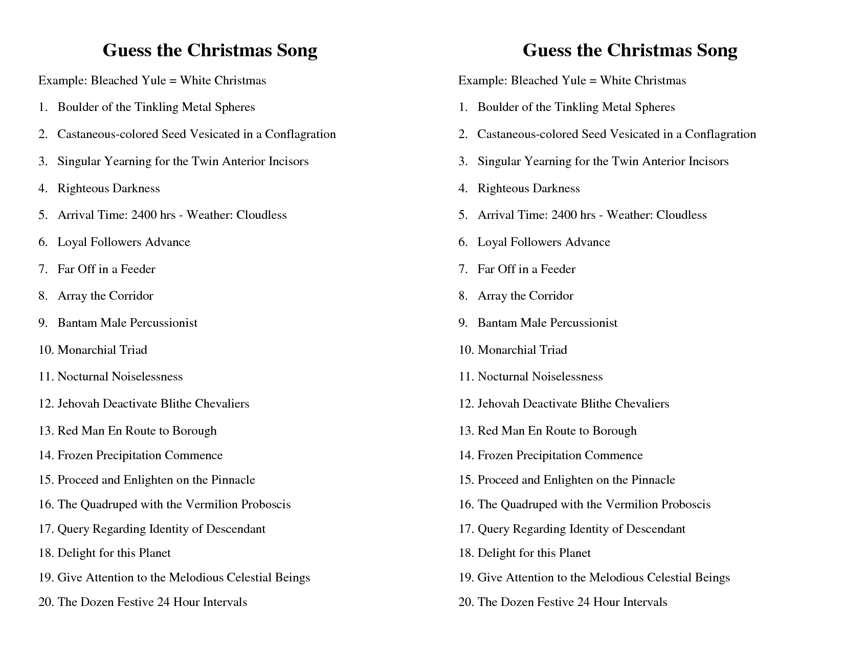 Guess The Christmas Song Worksheet