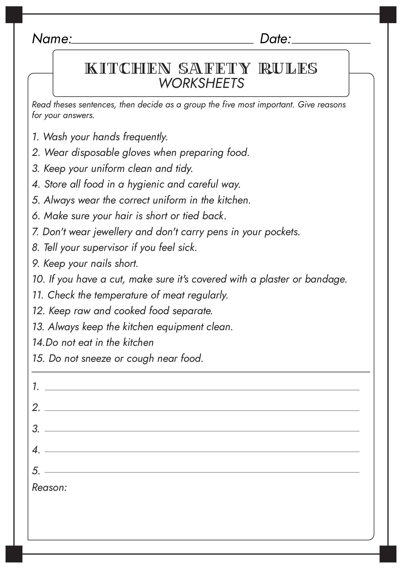 14 Best Images Of Kitchen Safety Worksheets