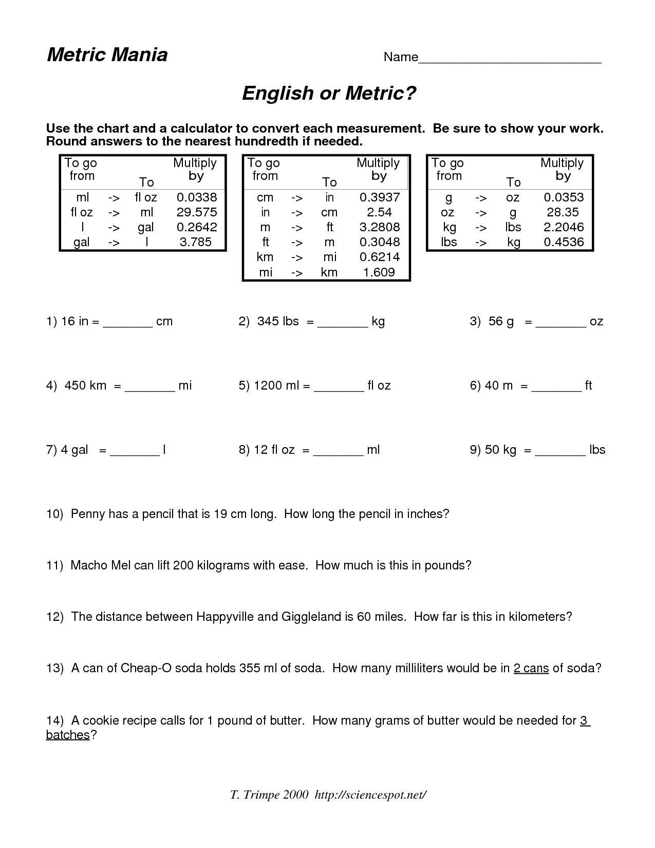 Year 8 Measurement Worksheet