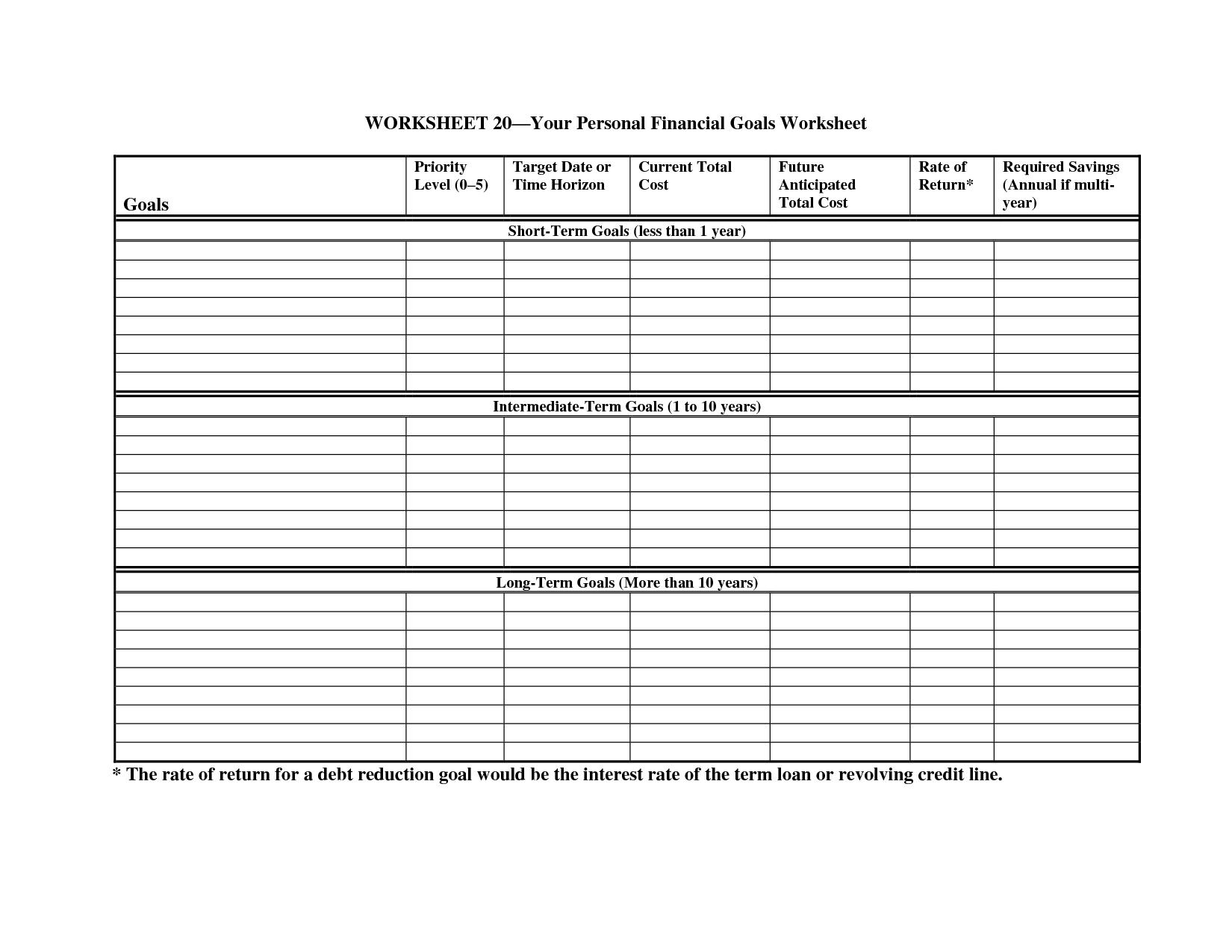 8 Best Images Of Personal Goal Worksheet Printable