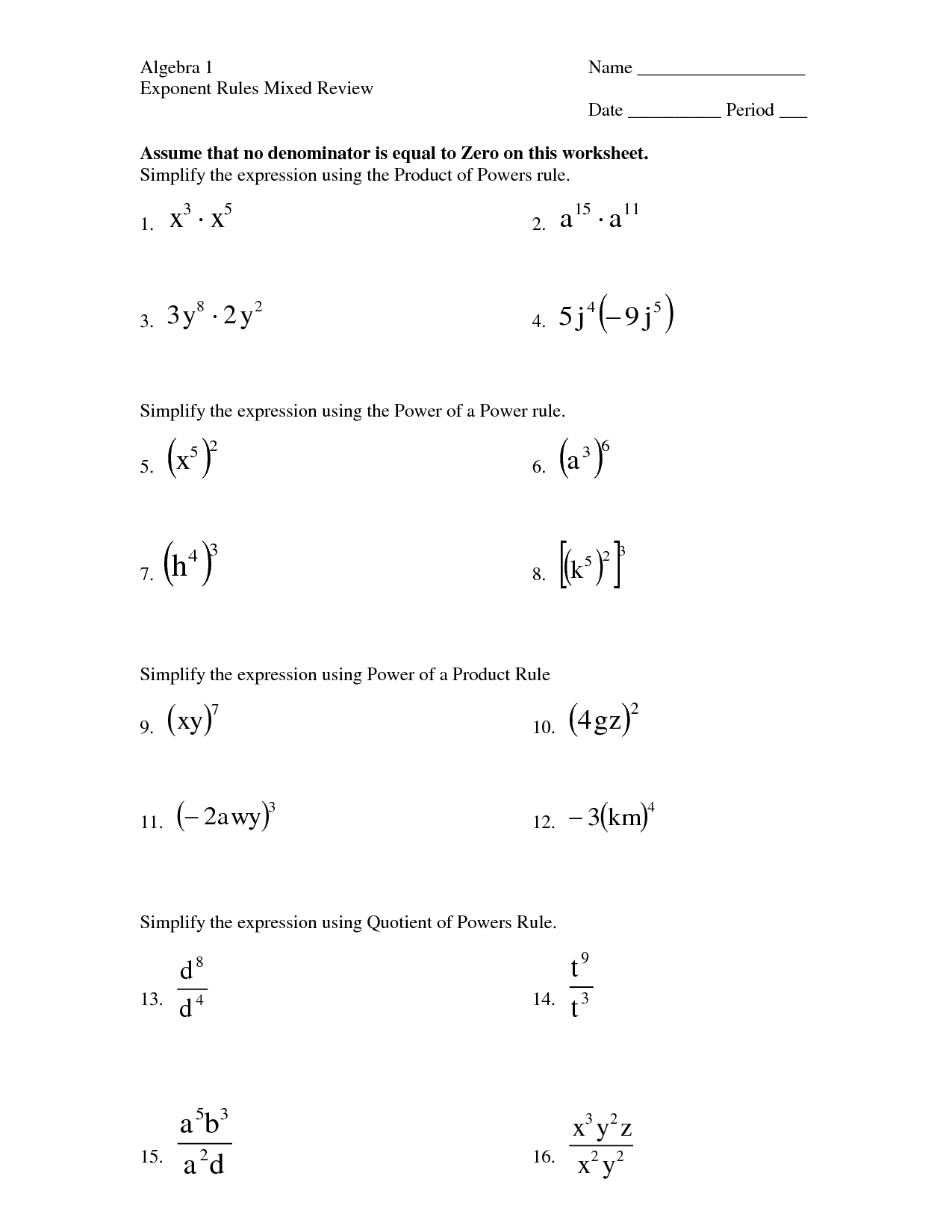 Worksheet Using Exponent Rules