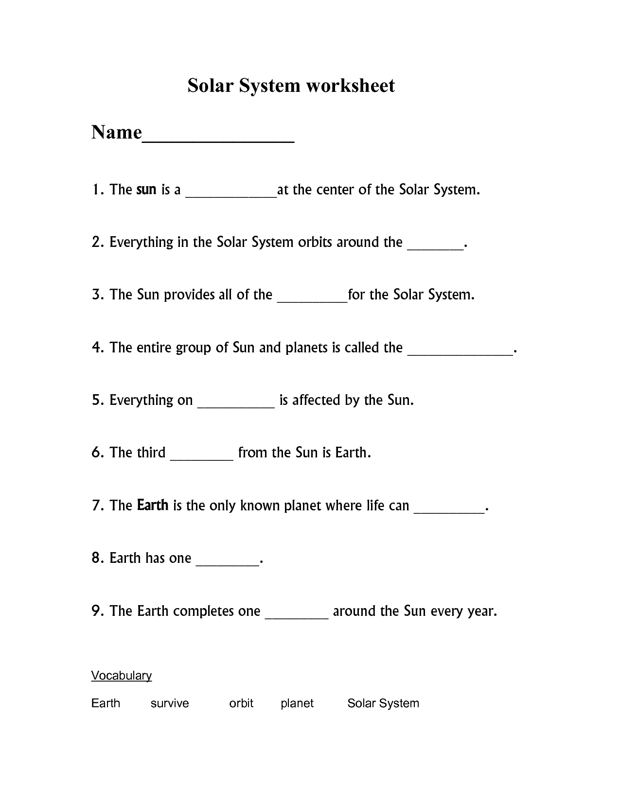 11 Best Images Of Science Worksheets Solar System