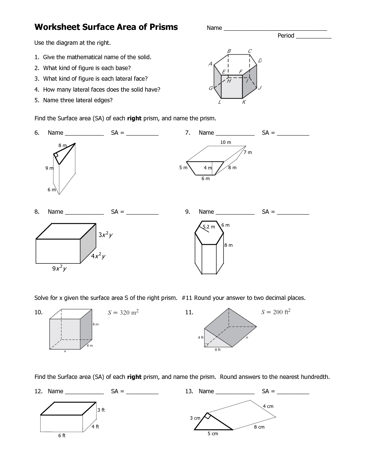 13 Best Images Of Surface Area And Volume Worksheets