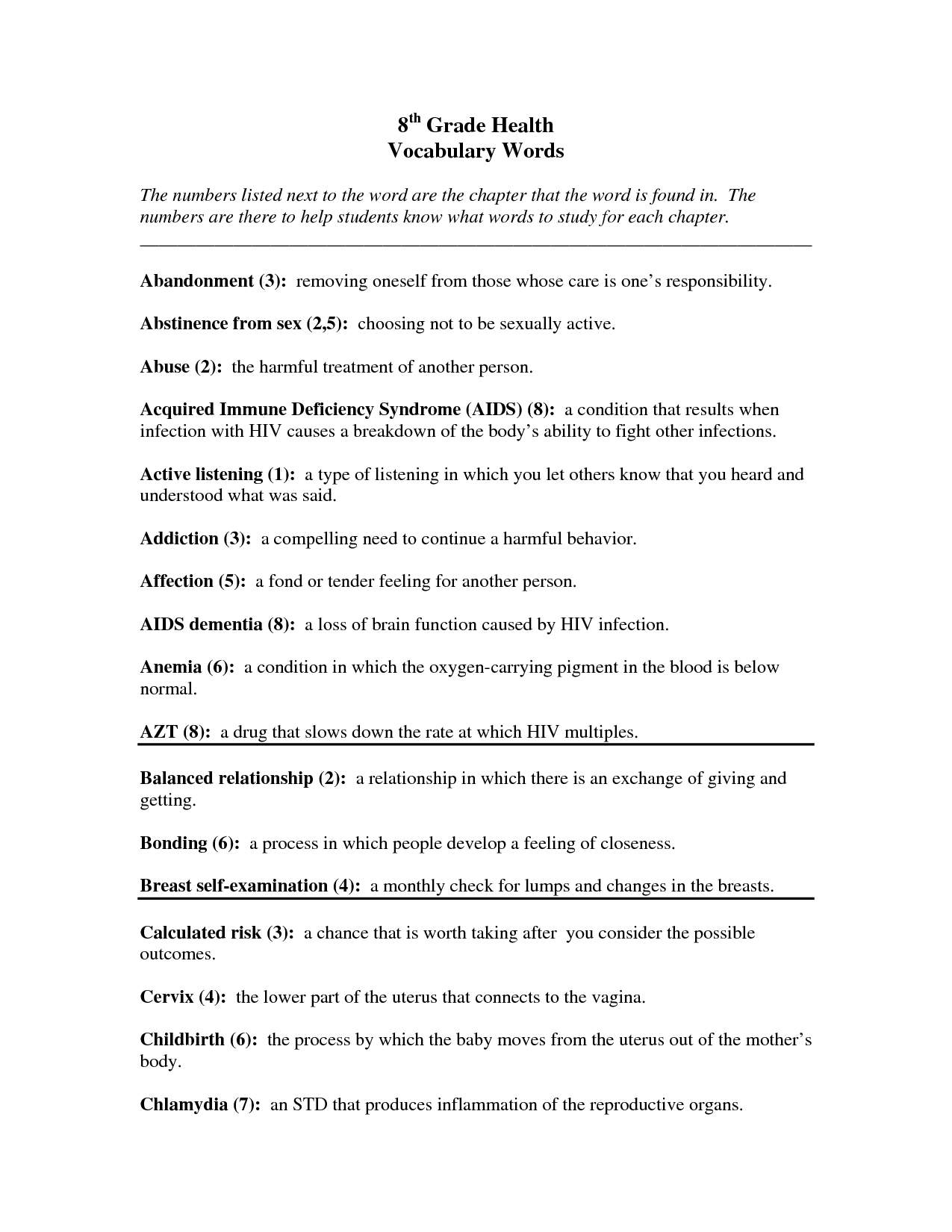 7th Grade Free Science Worksheets