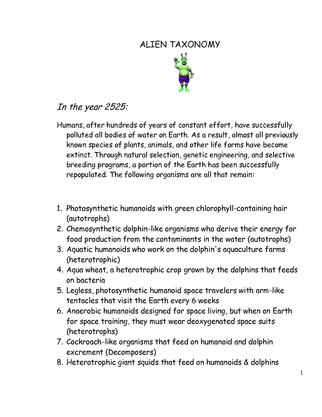 Fake Fish Taxonomy Worksheet