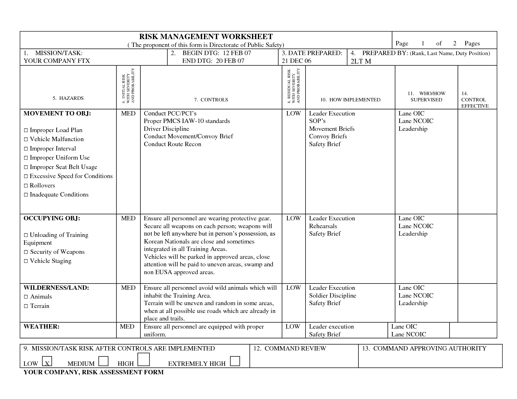 Army Oe Worksheet