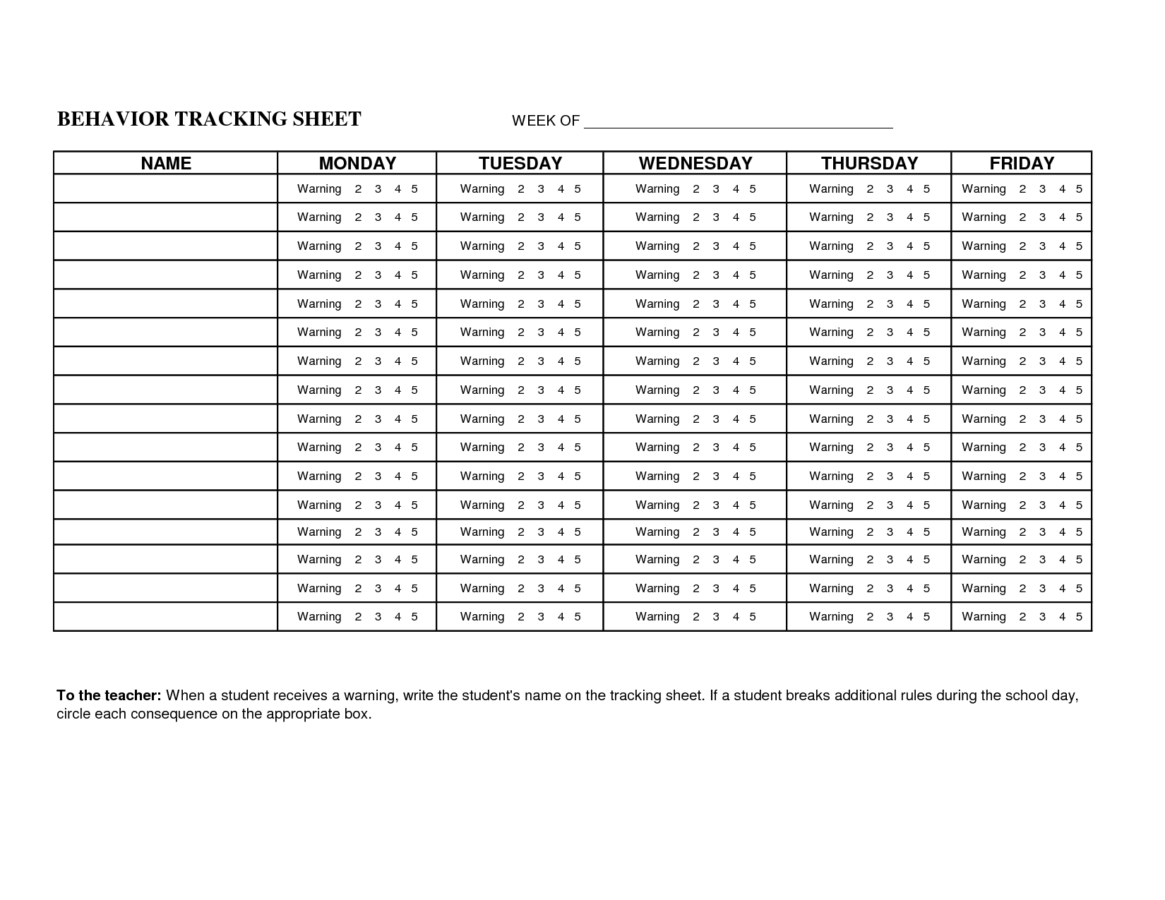Data Tracking Worksheet