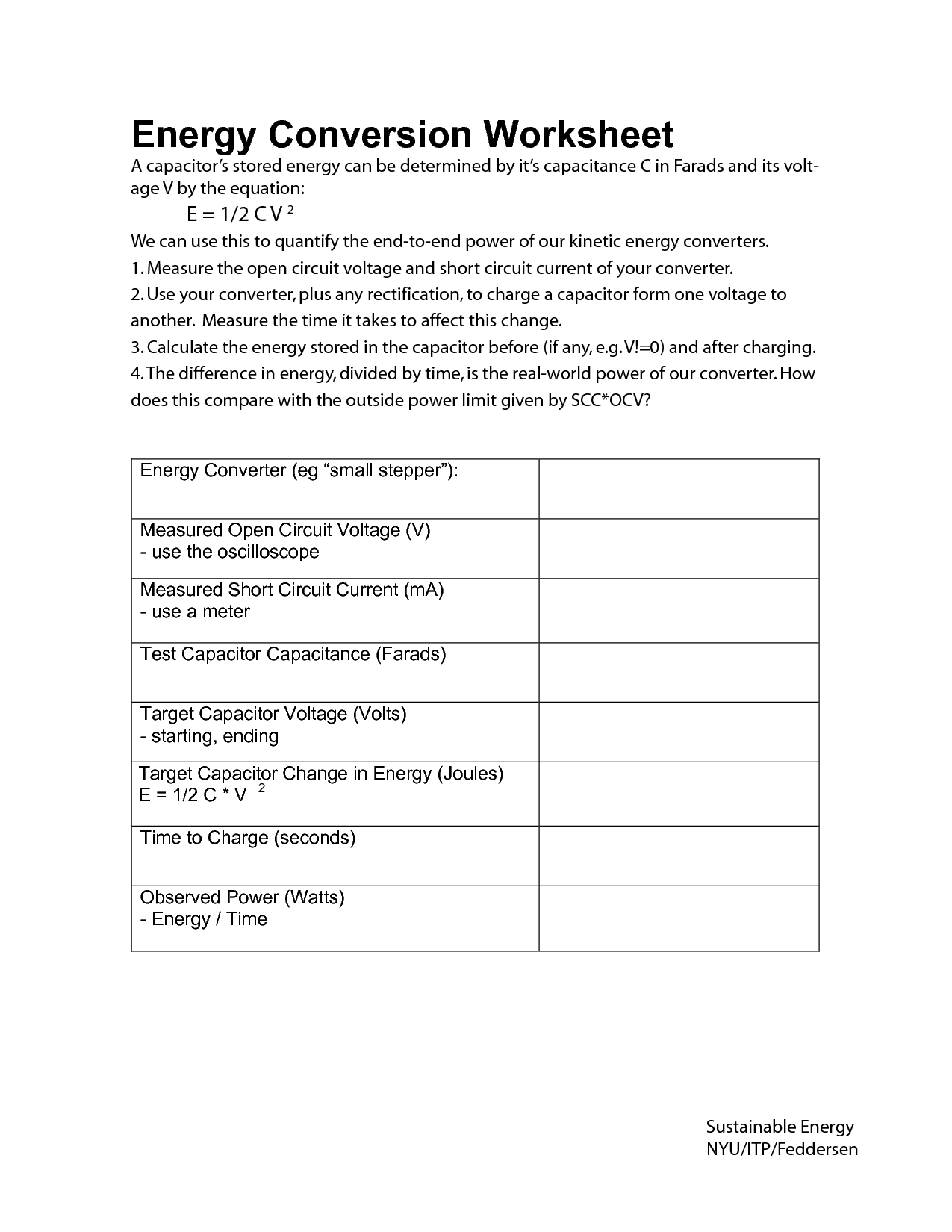 Worksheet For Energy