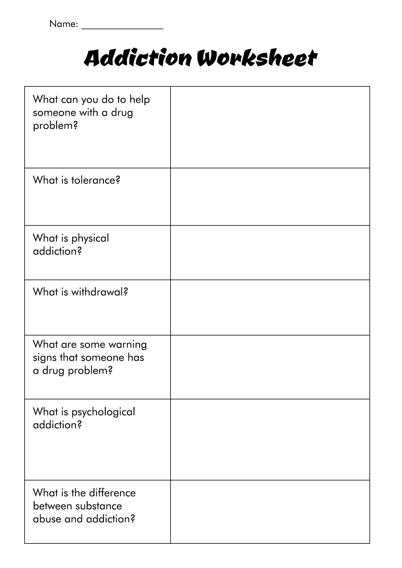 Substance Abuse Treatment Worksheets Worksheets Releaseboard – Relapse Prevention Worksheets