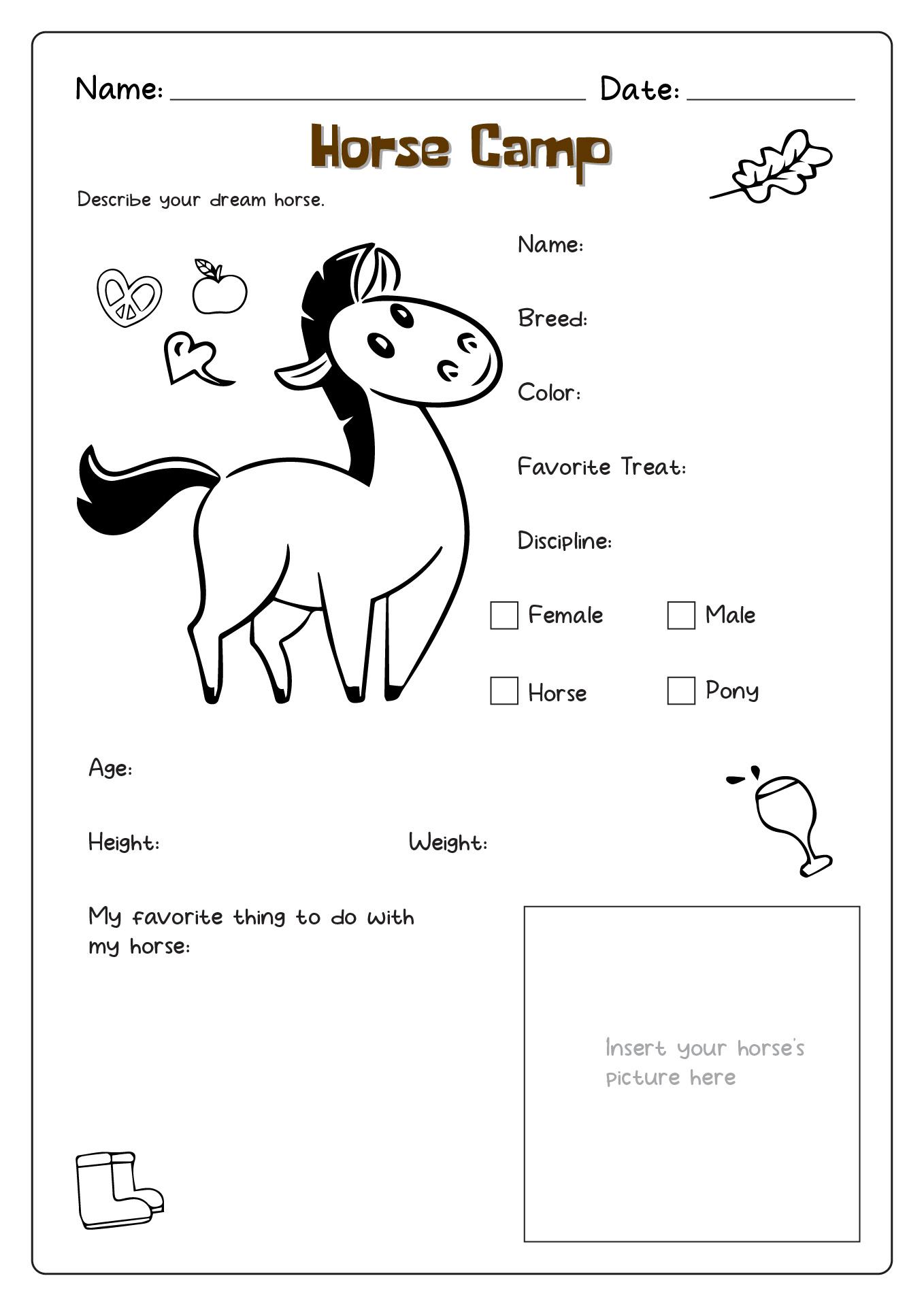 20 Best Images Of Horse Tack Worksheet Printable