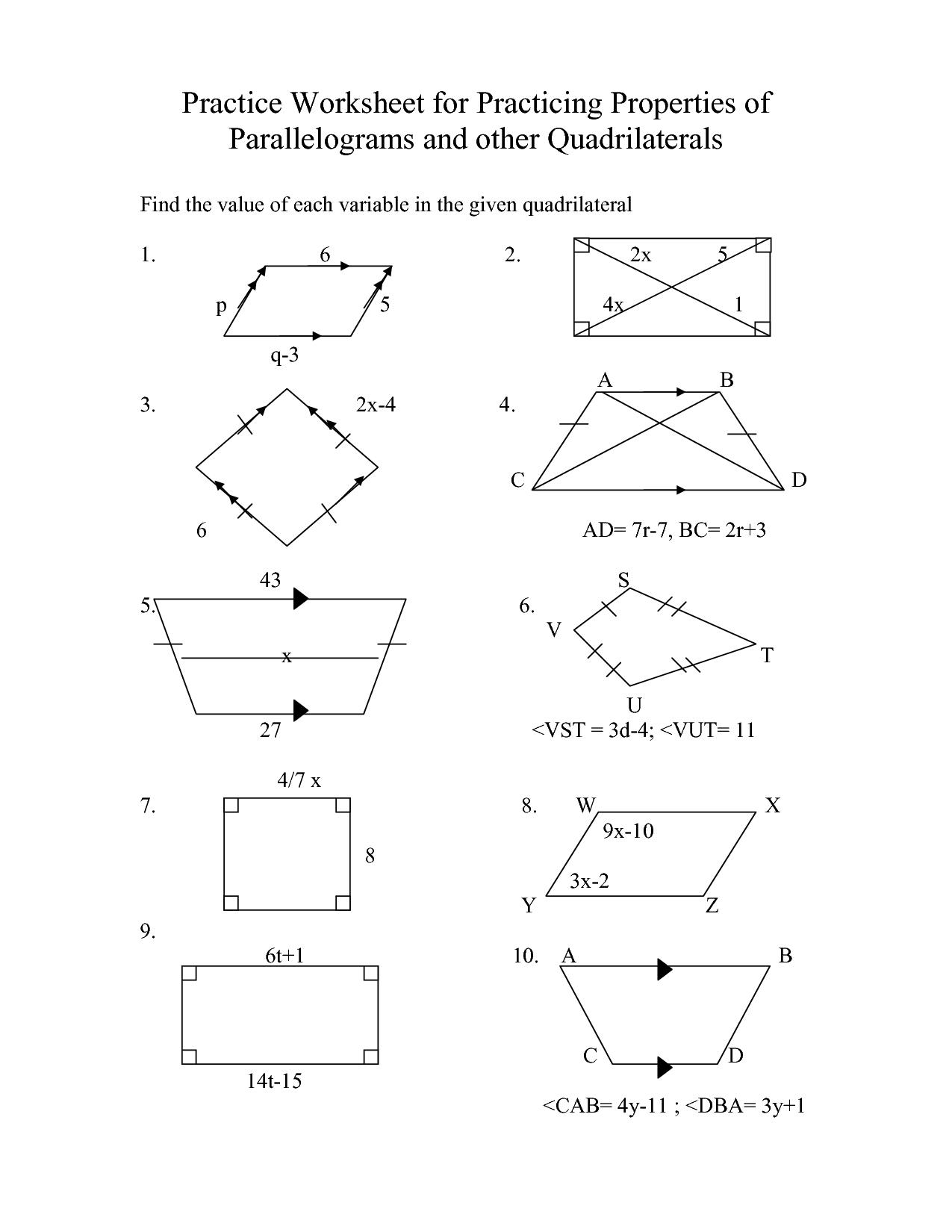 35 Properties Of Parallelograms Worksheet