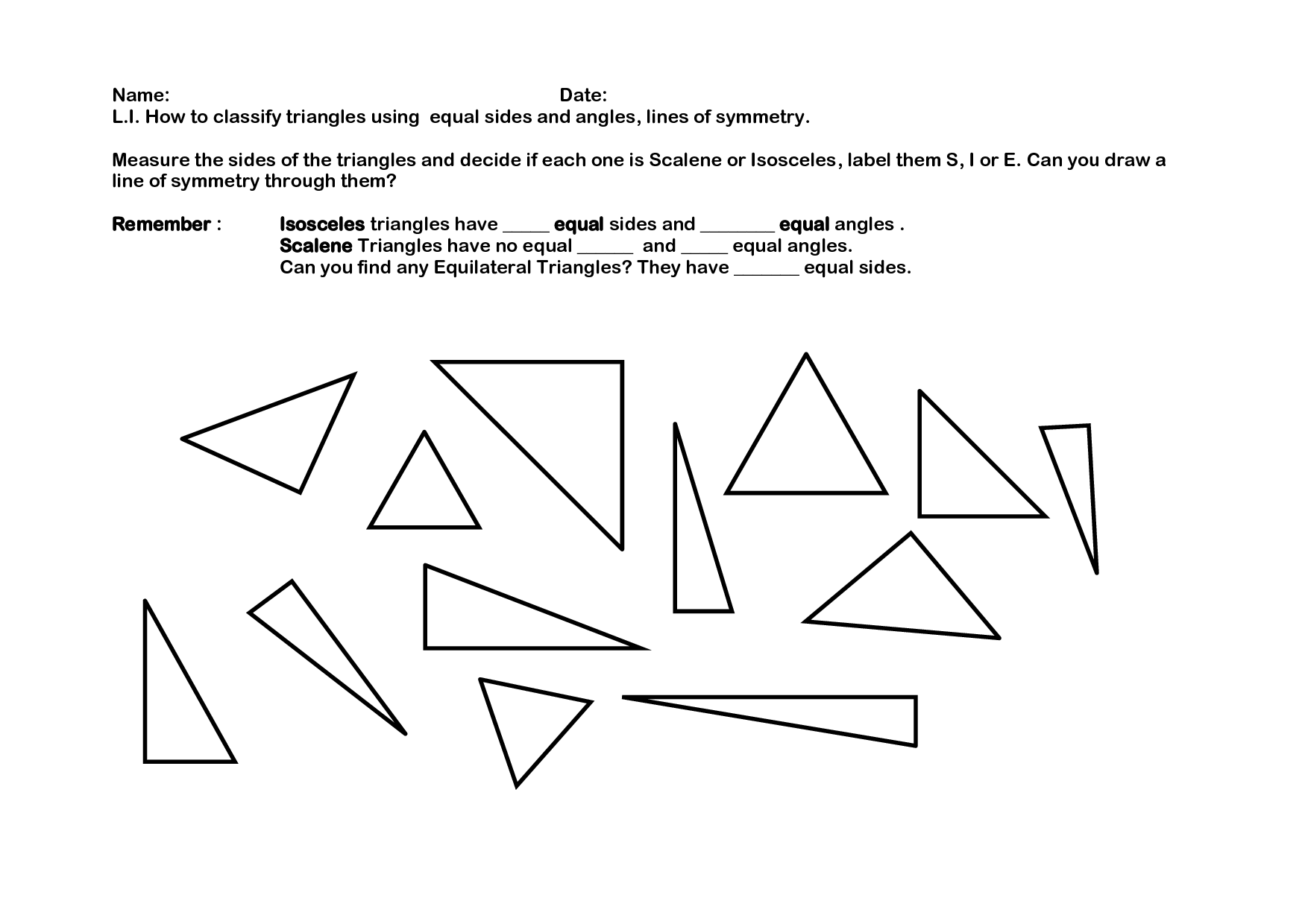 7 Best Images Of Triangle Classification Worksheet