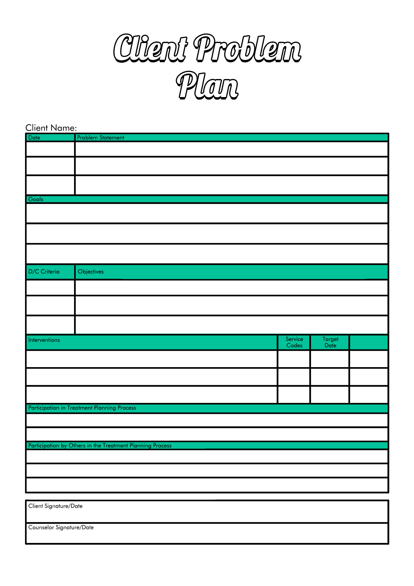 Alcohol Abuse Treatment Plan Worksheet
