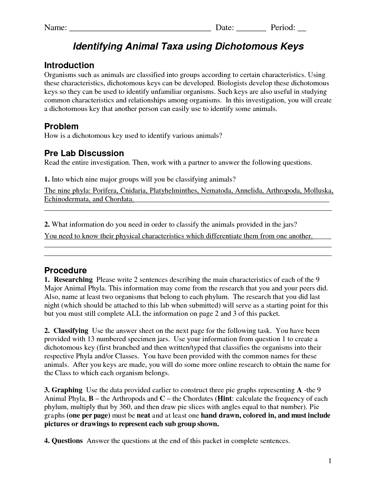 10 Best Images Of Dichotomous Key Worksheets Answers