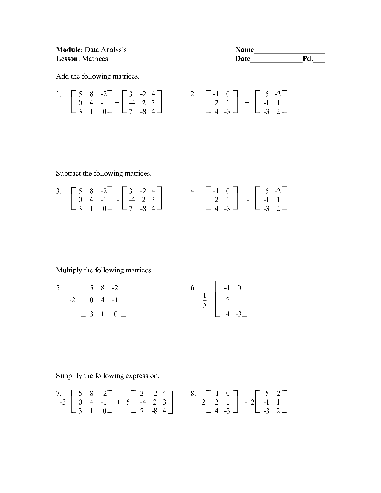 16 Best Images Of Matrix Algebra Worksheets