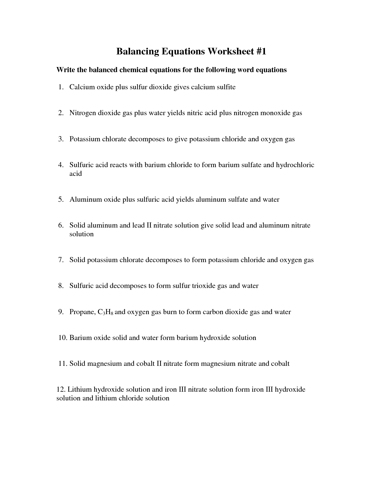 33 Chemistry Chemical Word Equations Worksheet