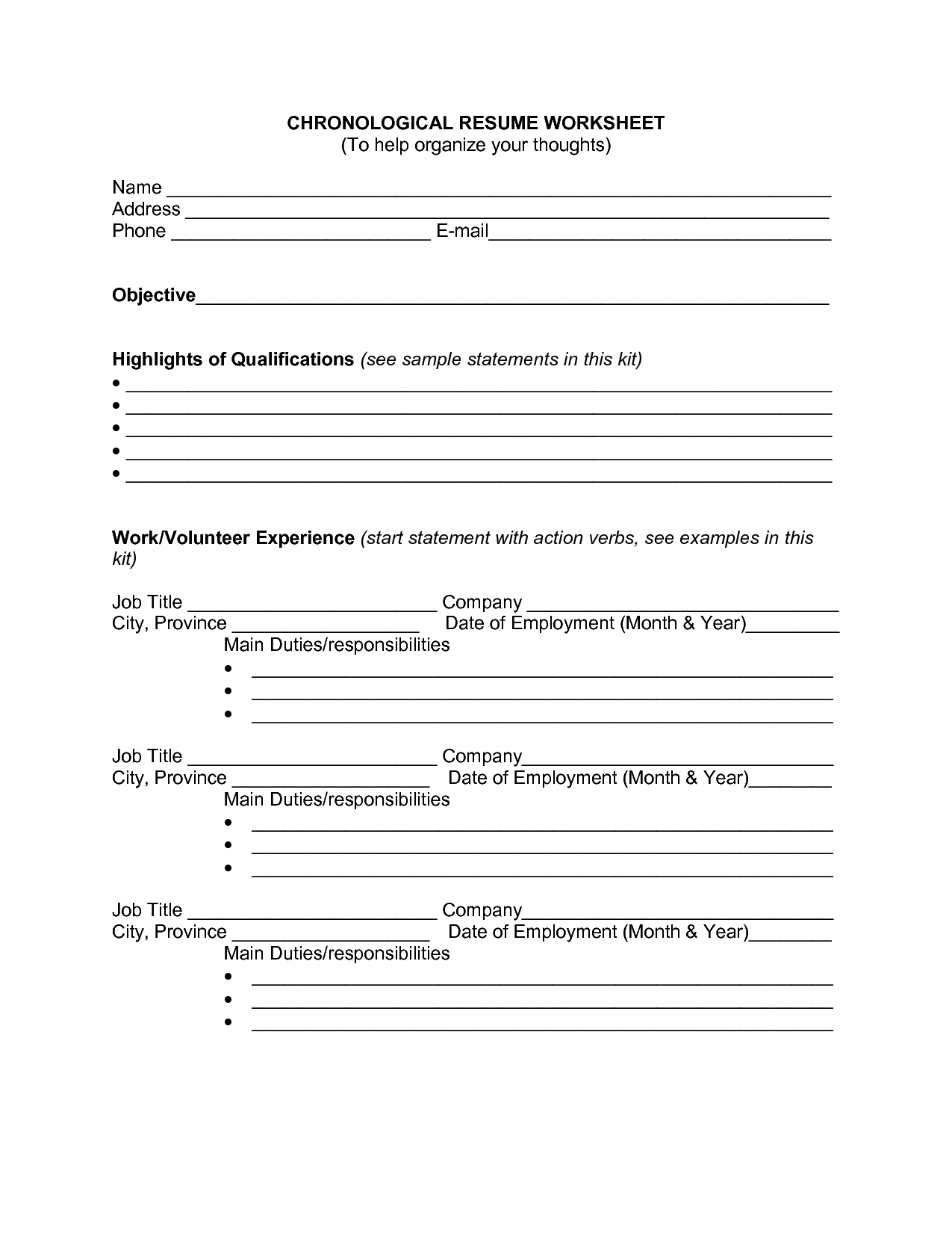 16 Best Images Of Resume Planning Worksheet