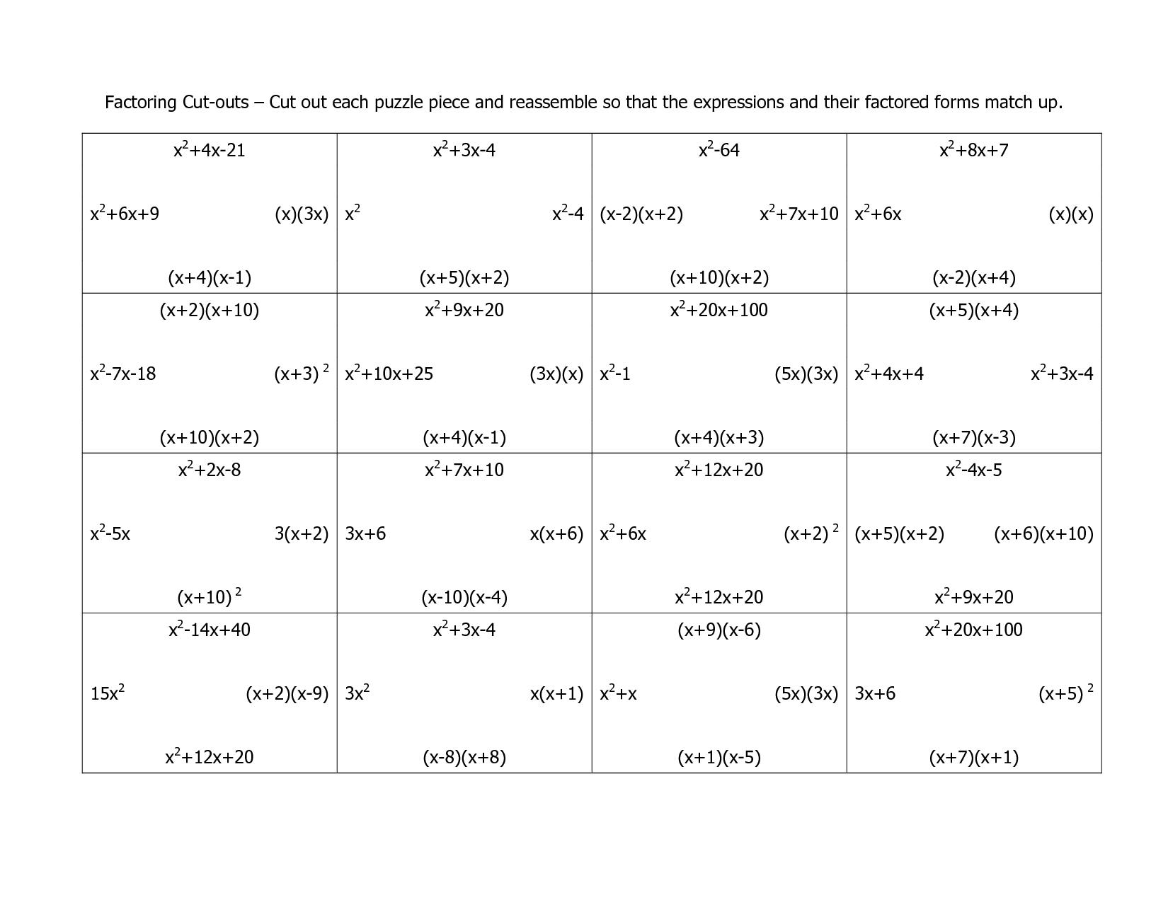 11 Best Images Of Factoring Binomials Worksheet With
