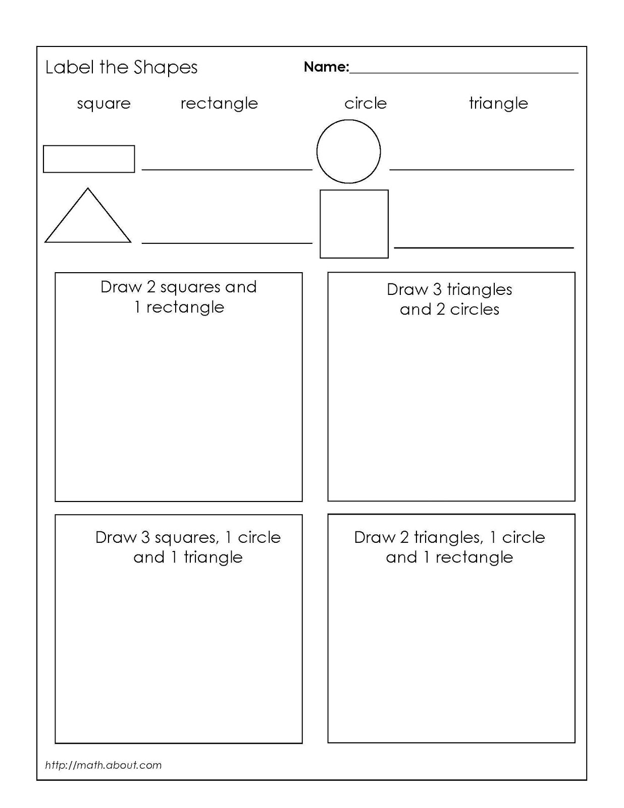 6 Best Images Of Math Shapes Worksheets 1st Grade