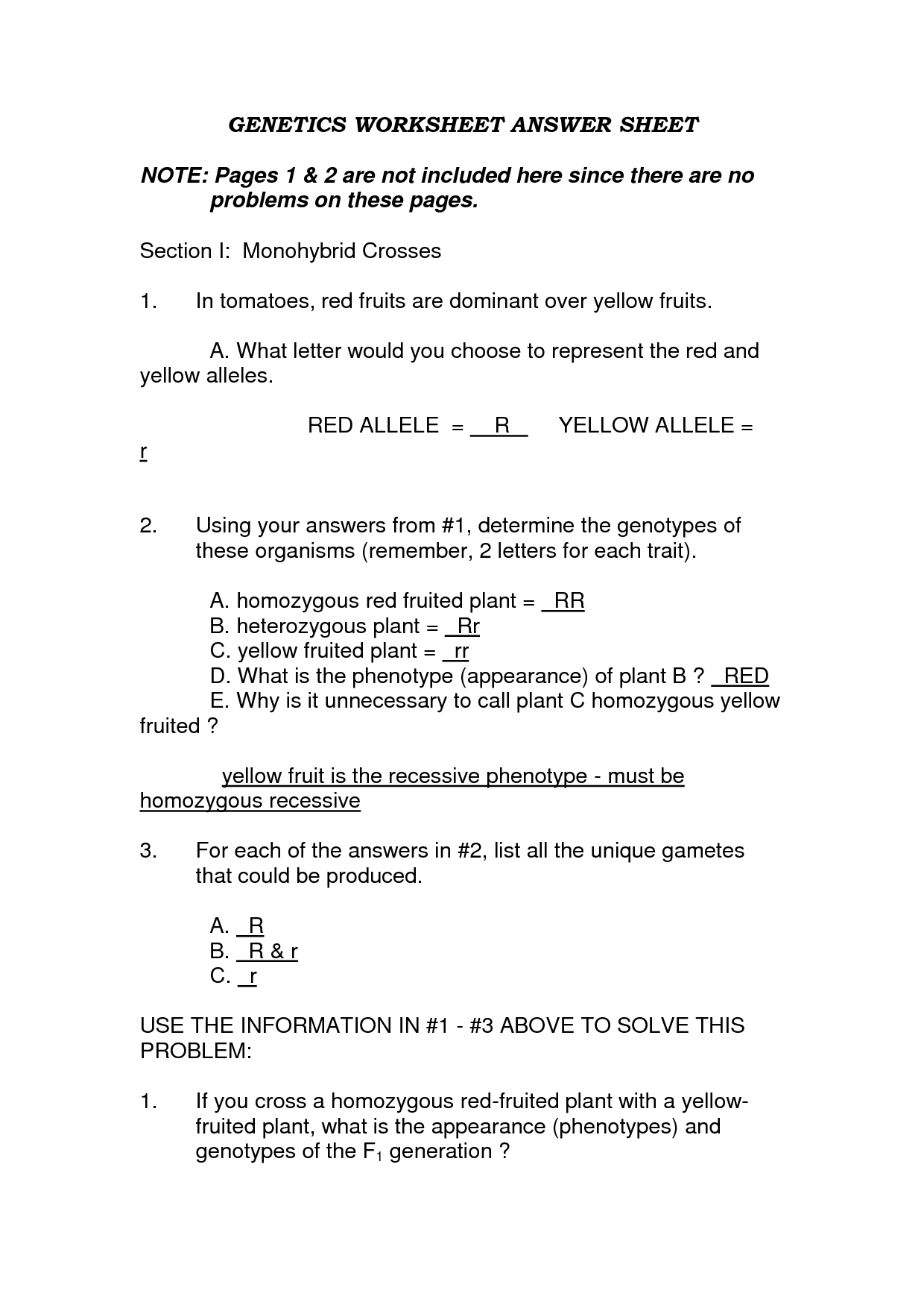 Pedigree Practice Worksheet Answer
