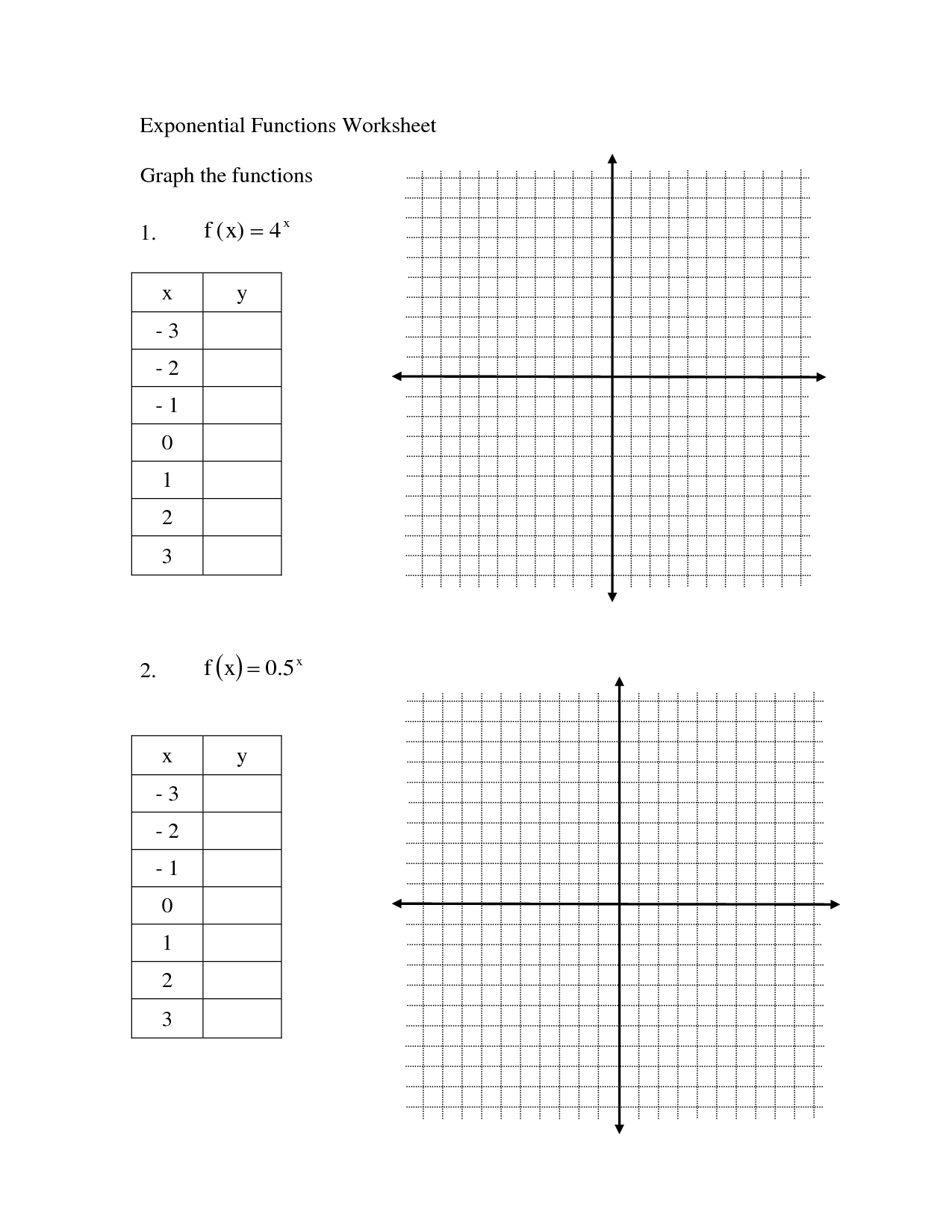 Parent Functions Worksheet