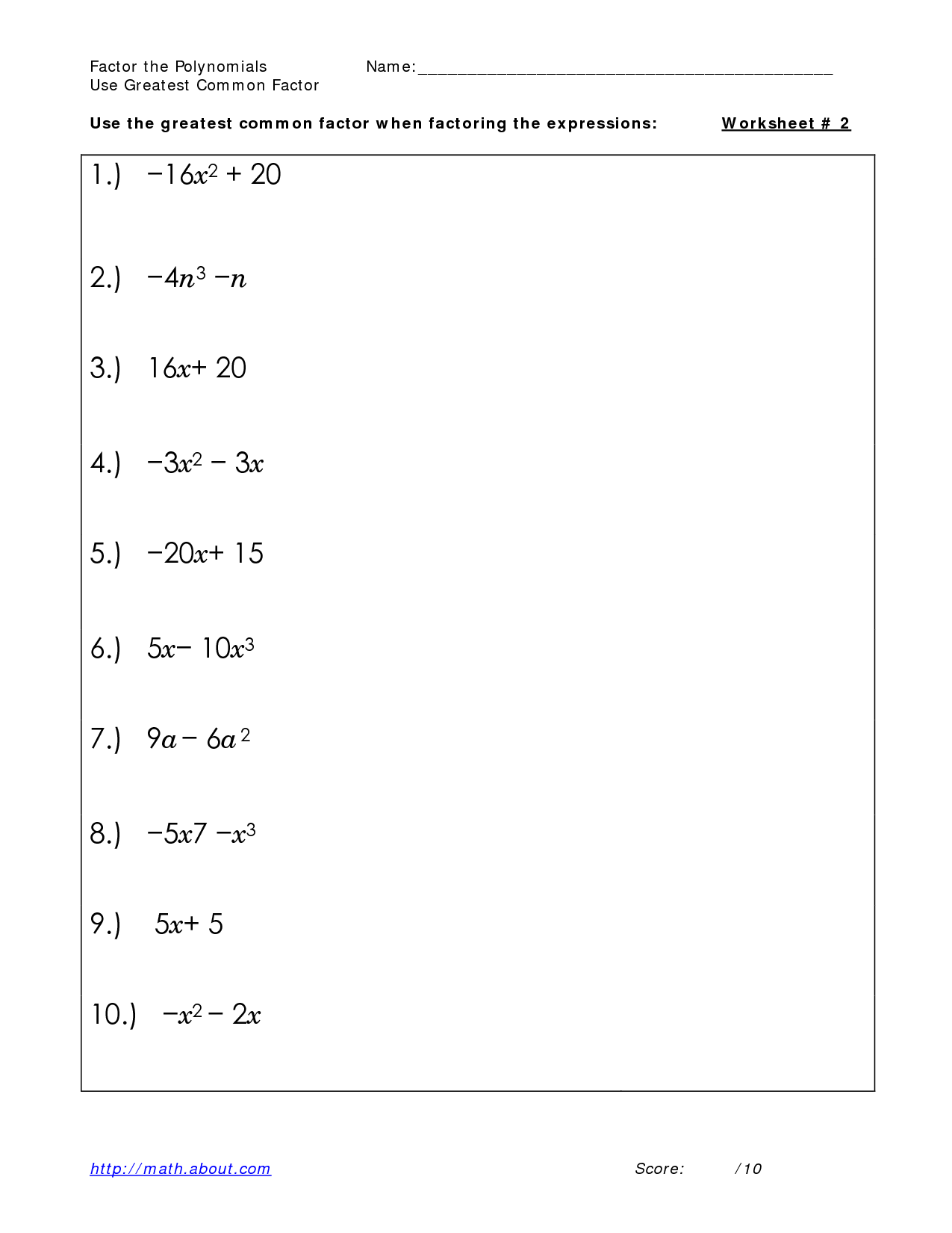 11 Best Images Of Factoring Binomials Worksheet With
