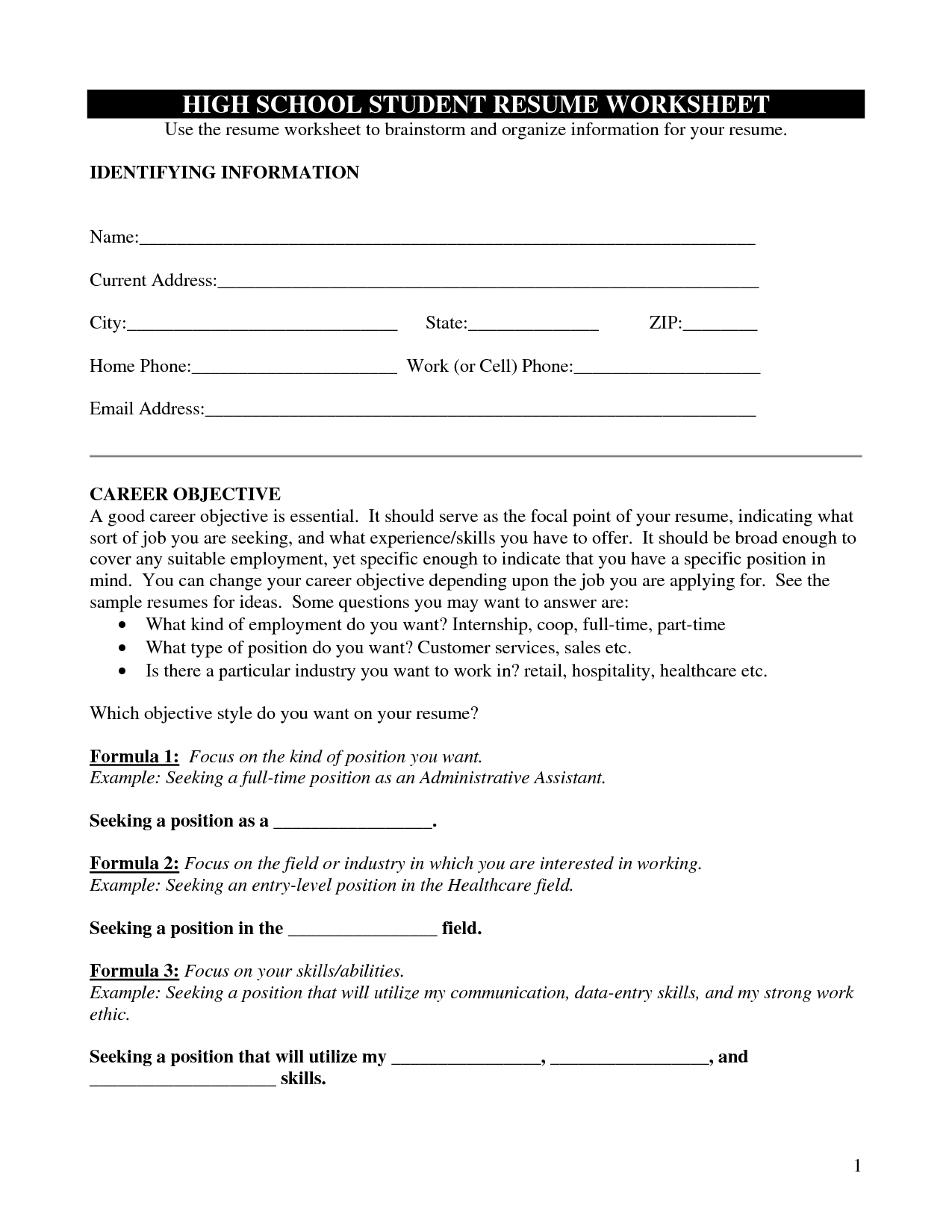 19 Best Images Of High School Student Information Worksheet
