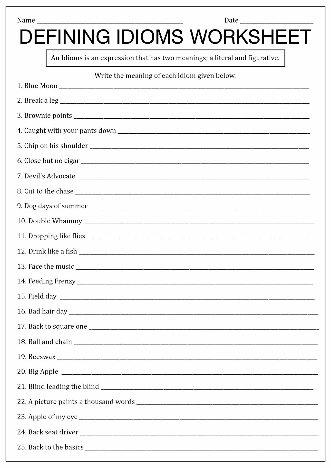 Idioms Worksheet Middle School